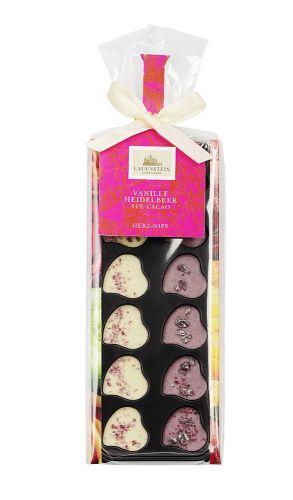 Minischokoladen Herz-Nips, Heidelbeere/Vanille, Etikett als Werbeartikel