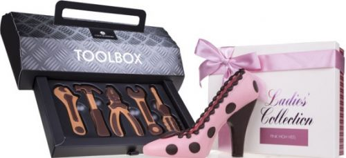 Schokolade Set Toolbox and High Heel als Werbeartikel