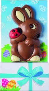 Schoko-Osterhase mit Käfer als Werbeartikel