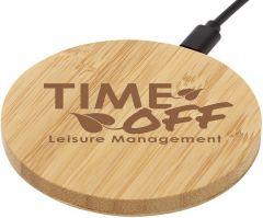 Kabelloses Ladepad Essence aus Bambus als Werbeartikel