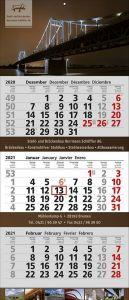 3 Monats-Wandkalender XXL 3 Postformat B4, 4-spachig als Werbeartikel