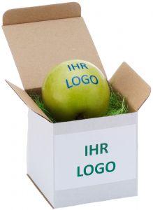 Singlebox für einen Apfel als Werbeartikel