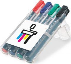 STAEDTLER Lumocolor permanent marker, Box mit 4 Markern als Werbeartikel