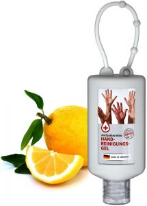 Handreinigungsgel, 50 ml Bumper, Body Label als Werbeartikel