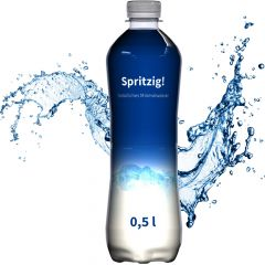 Mineralwasser, 500 ml, spritzig, Fullbody (Flasche Slimline) als Werbeartikel