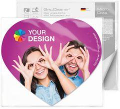 GripCleaner® 4in1 Mousepad Herz 23 x 20 cm im Polybeutel mit Standardkarte als Werbeartikel