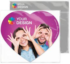 GripCleaner® 4in1 Mousepad Herz 23 x 20 cm im Polybeutel mit individueller Karte als Werbeartikel