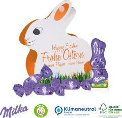 Werbe-Hase mit Milka Schokoladenmischung als Werbeartikel