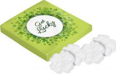 Viereckige Box Kleeblatt-Pfefferminz als Werbeartikel