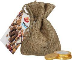 Jute Sack Schokoladenmünzen als Werbeartikel