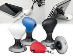 TWINS.Handyhalter mit zwei Kopfhörer-Ausgänge als Werbeartikel