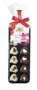 Minischokoladen Herz-Nips, Latte Macch./Macadamia, Etikett als Werbeartikel