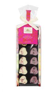 Minischokoladen Herz-Nips, Heidelbeere/Vanille als Werbeartikel