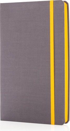 Deluxe A5 Stoff-Notizbuch mit farbigem Beschnitt als Werbeartikel