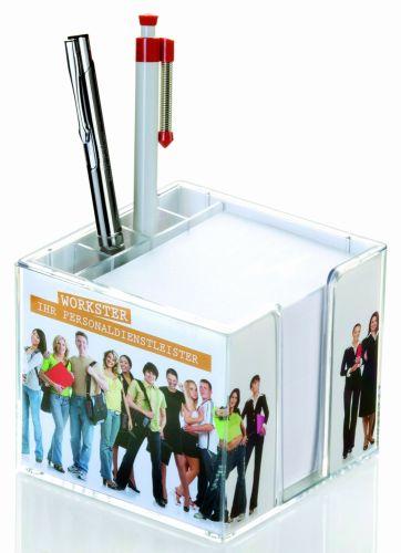 Doppelwandige Zettelbox mit Köcher mit 4c-Werbedruck als Werbeartikel