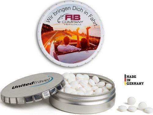 Super Mini Clic Clac Box Pfefferminz oder Traubenzucker als Werbeartikel