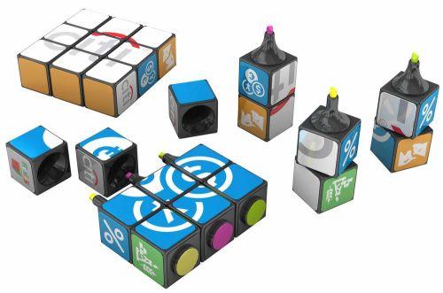 Original Rubiks Textmarker 3er als Werbeartikel