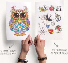 Farb-Klebetattoos mit individueller Gestaltung A5 als Werbeartikel