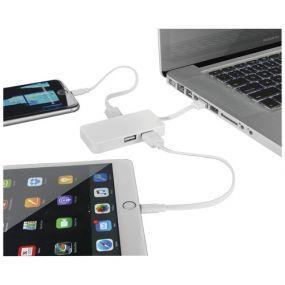 Grid USB Hub mit 2 Kabeln als Werbeartikel