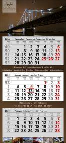 3 Monats-Wandkalender XXL 3, 4-spachig als Werbeartikel