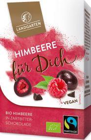 """Bio Himbeere in Zartbitter-Schokolade Premium Box """"für dich"""" 90g mit individuellem Etikett als Werbeartikel"""