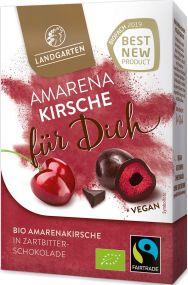 """Bio Amarenakirsche in Zartbitter-Schokolade Premium Box """"für dich"""" 90g mit individuellem Etikett als Werbeartikel"""