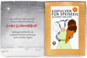 Eispulver Schoko im Portionsbeutel mit Klappkarte als Werbeartikel