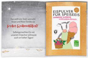 Eispulver Himbeere im Portionsbeutel mit Klappkarte als Werbeartikel