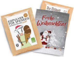 Eispulver Schoko-Zimt im Portionsbeutel mit Klappkarte als Werbeartikel