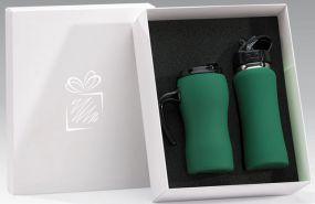 Isolierbecher und Trinkflasche im Set als Werbeartikel