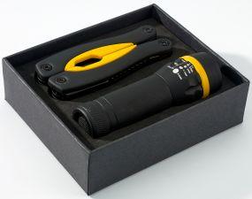 Multifunktionswerkzeug und Taschenlampe im Set als Werbeartikel