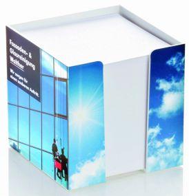 Zettelbox Standard mit Digitaldruck als Werbeartikel