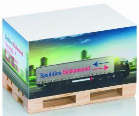 Zettelblock Mini-Holzpalette mit Digitaldruck als Werbeartikel