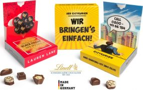 Lindt Mini Pralinés in Pop-Up Kartonage als Werbeartikel
