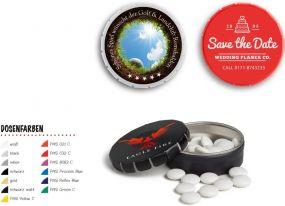 Super Mini Clic Clac Box Pfefferminz extra stark als Werbeartikel