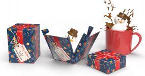 Schokoladen-Marshmallow Schneemann in Werbekartonage als Werbeartikel