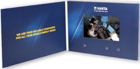 """Klappkarte mit integriertem HD-Farbmonitor """"VIDEOcard mit 4,75 Zoll HD-Display"""" als Werbeartikel"""