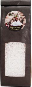 Badesalz im Blockbodenbeutel mit Etikettendruck als Werbeartikel