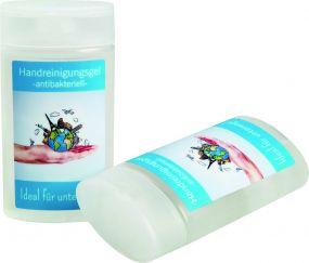 Handreinigungsgel antibakteriell mit Etikettendruck als Werbeartikel
