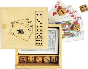 Karten und Würfelspiel Nevada in Holzbox als Werbeartikel