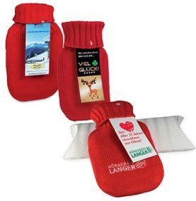 Mini-Wärmflasche mit Werbekarte als Werbeartikel