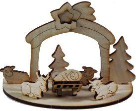 3D Holzpuzzle Krippe mit Laserung als Werbeartikel