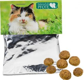 Katzen-Leckerli-Pack als Werbeartikel