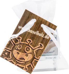 Protect Kids Stamp 4/0-c Indexpapier individuell im Organzasäckchen mit 4/4c-Werbekarte als Werbeartikel