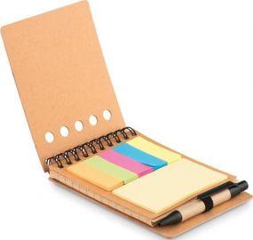 Notizbuch mit Markern und Kugelschreiber als Werbeartikel