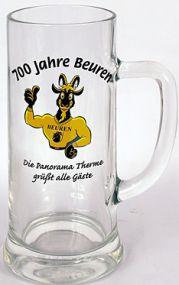 Glaskrug mit Henkel Weltenburg als Werbeartikel