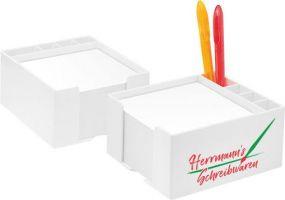 Zettelbox mit Köcher als Werbeartikel
