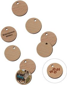 1€ Chip aus Birkenholz als Werbeartikel