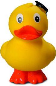 Quietsche-Ente Absolvent, stehend als Werbeartikel