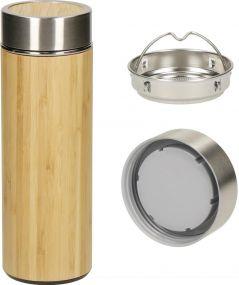 Vakuum Flasche Bambus, small als Werbeartikel